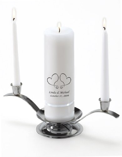 Personalized Unity Wedding Candle - Personalized Wedding Candle - Wedding Gift - Monogrammed Unity Wedding Candle - Two Hearts by A Gift Personalized (Image #2)
