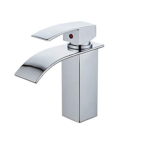 Chrome Commercial Single Handle - Sccot Single Handle Waterfall Bathroom Vanity Sink Faucet with Extra Large Rectangular Spout, Modern Commercial Solid Brass Lavatory Basin Faucet Mixer Tap (chrome)