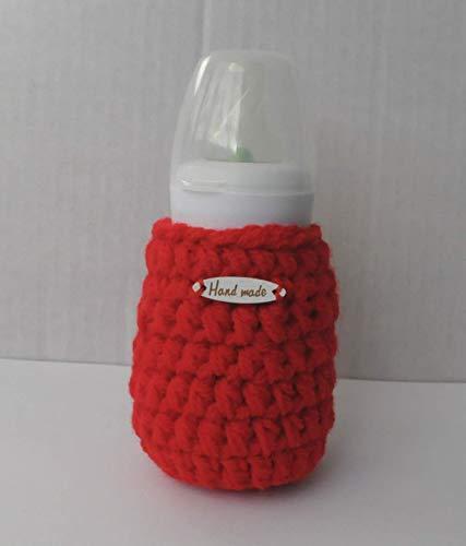 Red Bottle Cover Infant Newborn Gift Accessory Handmade Bottle Warmer 60ml/2oz