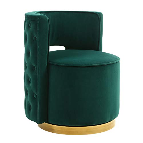 (Swivel Accent Chair, Modern Upholstered Barrel Chair Vanity Stool for Bedroom Living Room with Gold Base Silvery DarkGreen)