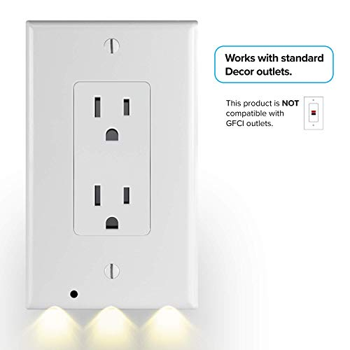 2 Pack SnapPower GuideLight - Outlet Wall Plate With LED Night Lights - FOR OUTLETS - (Décor, White)