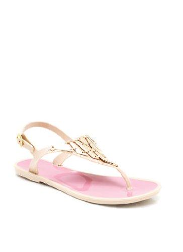 6ebd1cfb0bee Qupid Women s Buzz01 PVC Nude Triangle Metallic Thong Flat Sandal 6.0 ...