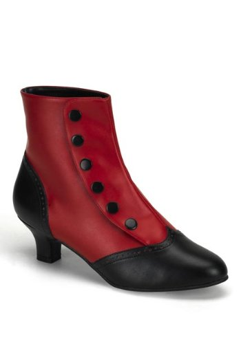 Women's 2 Inch Heel Button Spat Ankle Boot (Red/Black PU;10)