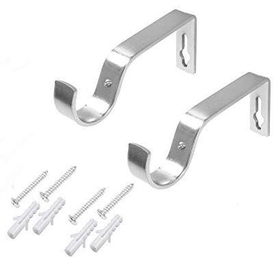 HomeHarmony/® Pack of 2 Curtain Pole Rod Wall Bracket Fixings for 16-19mm Curtain Poles Silver