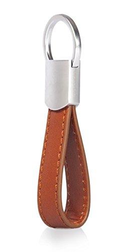 Kasper Maison Italian Leather Keychain - 4 Premium Keyrings - Elegant Packaging - Earphone Holder Included Tan