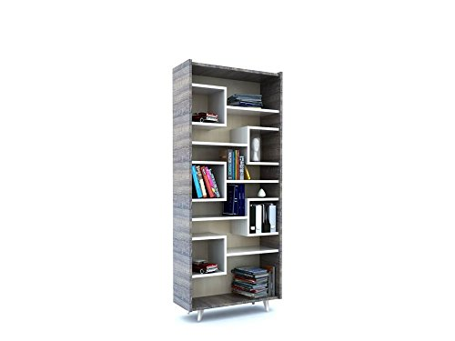 Forzza Prat Book Shelf (Dark Oak and White)