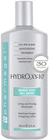 Pharmagel Hydro2 Xy 10 Lifting and Firming Concentrate Moisturizer | AHA and BHA Facial and Body Lotion | Rapid Absorption with Stabilized Oxygen - 12 fl. oz.