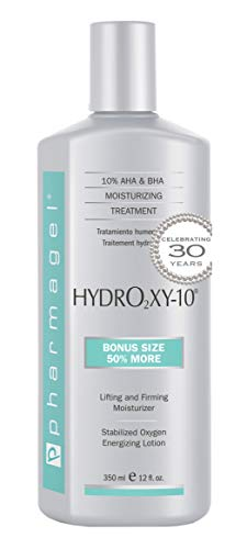 Pharmagel Hydro2 Xy 10 Lifting and Firming Concentrate Moisturizer | AHA and BHA Facial and Body Lotion | Rapid Absorption with Stabilized Oxygen - 12 fl. oz. -  Pharmagel International, HYD-12