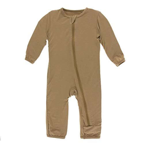 Kickee Pants Little Boys Solid Coverall with Zipper - Tannin, 3T