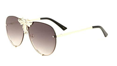 3D Killer Bee Luxury Hip Hop Aviator Sunglasses Floating Lenses (Gold & Black Frame, Black Gradient ()