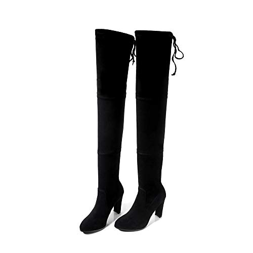 TSNMNB Otoño e invierno Europa y los Estados Unidos sobre la rodilla botas de mujer de tacón alto de espesor con cuero puntiagudo piernas delgadas botas de estiramiento botas altas botas sueltas, 38,