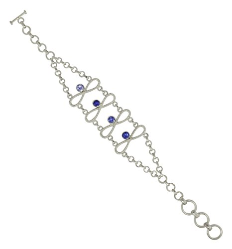 Natural Tanzanite Gemstone 925 Sterling Silver Bracelet Size 7.5″