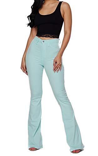 Vibrant Women's Juniors Bell Bottom High Waist Fitted Denim Jeans (1, Mint Blue Crop Top Bundle)