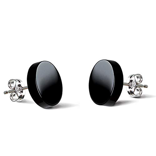 925 Sterling Silver Earrings Natural Black Agate Stud Earrings stud earrings for women men Everyday Wear(2pcs) (8.0mm) ()