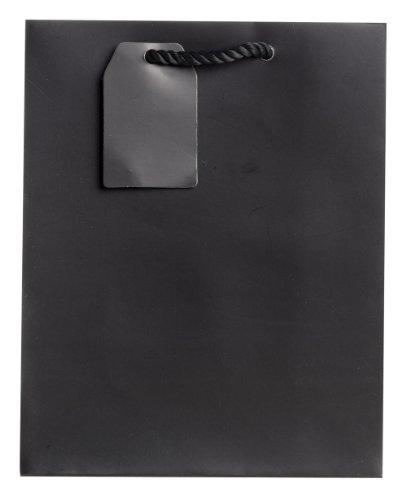 Jillson Roberts Bulk Medium Gift Bags Available in 19 Colors, Black Matte, 120-Count - Finish Matte Bag Gift Medium
