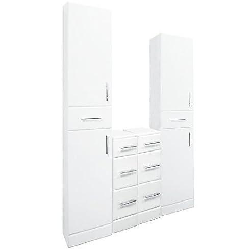 Hochschrank küche mit schubladen  Hochschrank, glänzend, Weiß, doppelte Schubladen-Set: Amazon.de ...