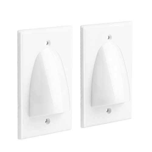 Single Gang Recessed Low Voltage Cable Wall Plate Internal Management Recessed Audio Video Cable Pass Through Wall Plate (2-Pack, White) ()