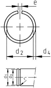 45 mm Runddraht Sprengring Sicherungsring DIN 7993 Form A f/ür Welle 50 St/ück