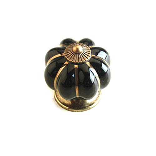 FatColo(TM) Kitchen Handles Pull Drawer Knobs Ceramic Door Cabinets Cupboard Hardware w/Screws (Black Pumpkin , Pack of 4)