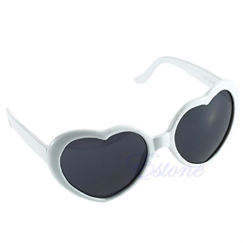 Hukai Vintage Retro 10 Color Men Women New Fashion Lolita Heart Shaped Love Sunglasses - For Shaped Eyeglasses Faces Heart