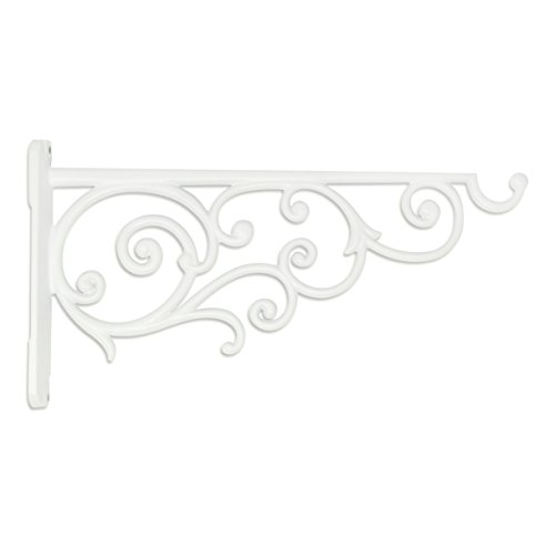 GrayBunny GB-6878W1 Victorian Wall Hook, 14 Inch, White, For Bird Feeders, Planters, Lanterns, Wind Chimes, As Wall Brackets and More! - Light Indoor Wall Bracket