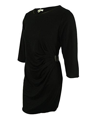 Spense Women's 3/4 Sleeves Ruched Side Dress (16W, Black) (Sleeve 3/4 Spense)