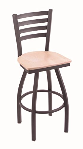 Holland Bar Stool Co. 410 Jackie 36 Bar Stool with Pewter Finish and Swivel Seat, Dark Cherry Oak