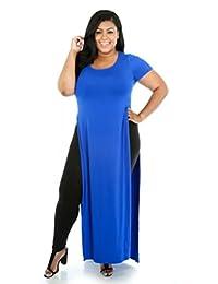 Topfly Womens Plus Size Round Neck Short Sleeve Side Split Long Dress T Shirt