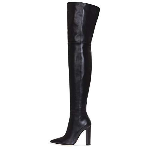 46 Cuissardes Chaussures à Automne Hauts Hiver Cuir Bottines Femme HNBoots Bottes Noir Black Bloc Talons 35 6pqTx5
