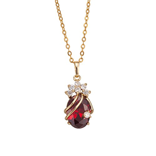 18k Red Gold Necklace - YAZILIND Cute 18K Gold Platedl Red Cubic Zirconia Pendant Necklace Gifts Idea