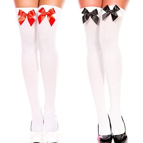 Women's Long Socks Onver knee High Stockings Cute Satin Bows 2 Pcs Set (Red Black) comfy cute graduated lady leg beauty ()