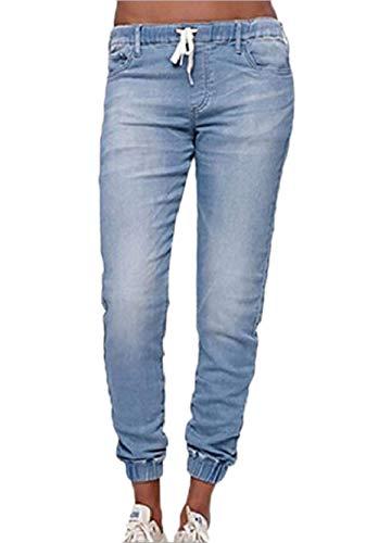 Jeans Sottile Azzurro Lungo Trousers Bende Denim Onlyoustyle Moda Donne Con Pantaloni Ow5vHzq