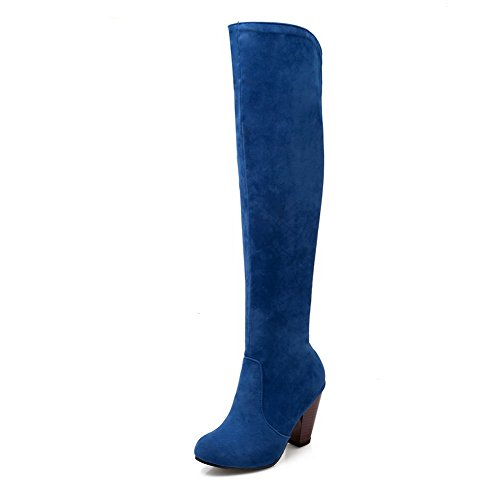 Closed On Pull Boots Women's Round Blue Toe Heels High AmoonyFashion Frosted Solid AEzqwgx