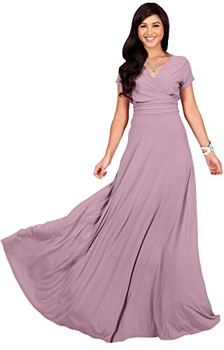 KOH KOH Plus Size Womens Long Cap Short Sleeve V-Neck Flowy Cocktail Slimming Summer Sexy Casual Formal Sun Sundress Work Cute Gown Gowns Maxi Dress Dresses, Dusty Pink 4XL 26-28