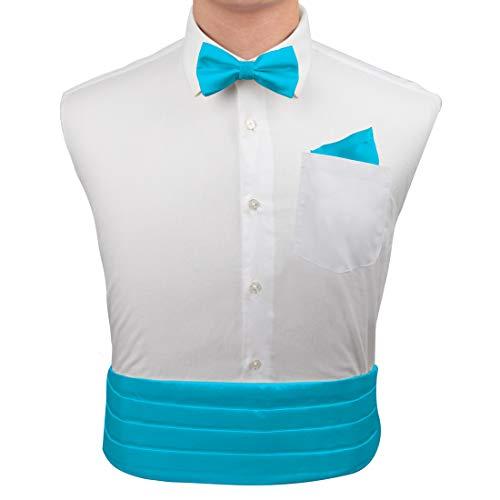 Dark Turquoise Formal Pre-tied Bow Tie Hanky and Cummerbund Cufflinks Set with Gift Box Cm1015  Turquoise ()