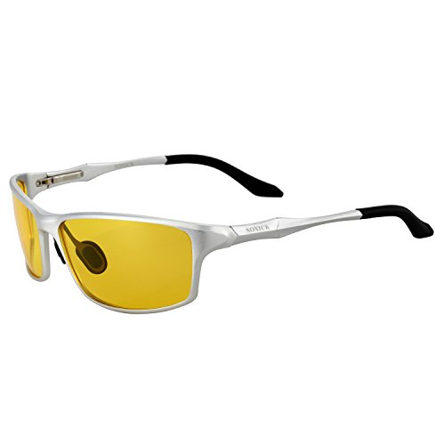 Man's Night Driving Glasses for Cycling Fishing Shooting Sunglasses Polarized Driver Glasses Silver - Sun That Tint Glasses In The