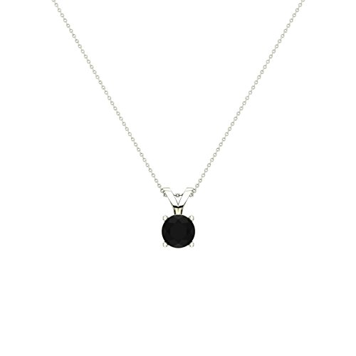 3/4 ct tw Natural Black Round Brilliant Diamond Solitaire Pendant Necklace 14K White Gold