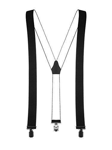 Schwarzer hochwertiger Hosenträger mit 3 Clips Klips Y-Form Männer Damen Hose Jeans Fasching Oktoberfest Fassnacht Karneval