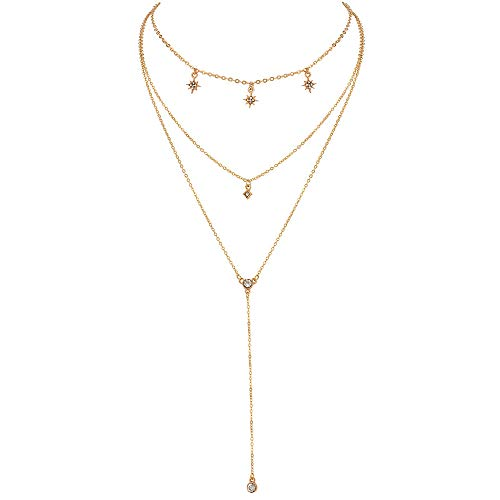 (Qimoshi Gold Layered Necklace Pendant Shell Moon Star Coin Round Simple Dangle Bar Necklace Chain for Women Girls Fashion Jewelry)