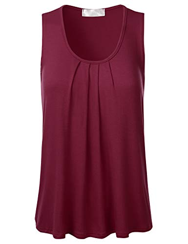 FLORIA Womens Round Neck Pleated Front Sleeveless Stretchy Blouse Tank Top Burgundy L ()