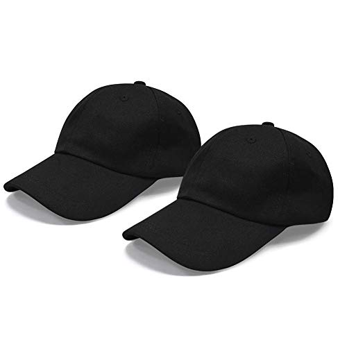 Cotton 100% Baseball Hat (Polo Baseball Cap, 100% Cotton Classic Baseball Hat [2 Pack], Unstructured Low Profile Plain Dad Caps for Men and Women Black)