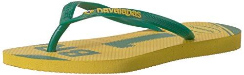 Flip Team Flops (Havaianas Women's Slim Teams - Brazil Sandal, Citrus Yellow 35/36 BR (6 M US))