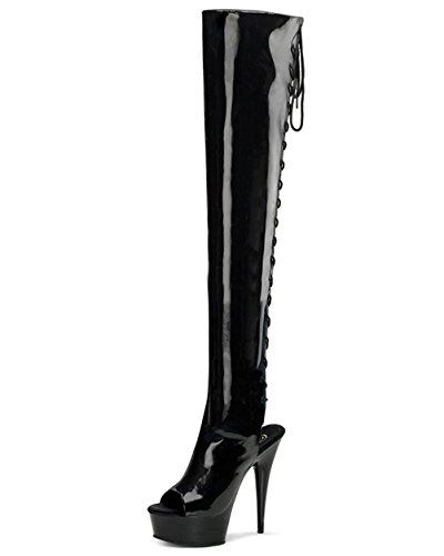 - pleaser 5 3/4 Inch Heel Back Lace Thigh High Boots Sexy Platform Peep Toe Black Size: 8 Colors: BlackPatent