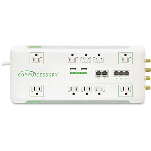 Compucessory Slim 10-Outlet Surge Protector, 6' Cord, White, CCS31900 ()