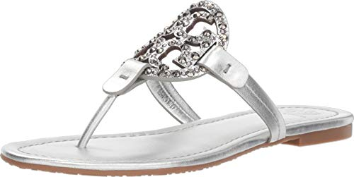 Tory Burch Miller Silver Metallic Leather Slide Sandals with Embellished Logo (8.5)