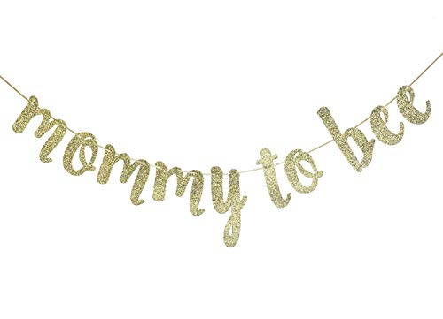 Mommy to Bee Banner Sign for Baby Shower Gender Reveal Birthday Party Decor Bumble Bee Cursive Bunting Decorations Gold Glitter