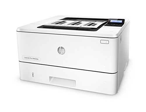 HP LaserJet Pro M402dw Wireless Laser Printer with Double-Sided Printing, Amazon Dash Replenishment ready (C5F95A) 5 FEATURES DESIGNED FOR YOUR BUSINESS: Monochrome laser printer, 2-line display with keypad, wireless printing, duplex printing FAST PRINT SPEED: print up to 40 pages per minute. First page out in as fast as 6.4 seconds. SOLID SECURITY: Keep printing safe from boot up to shutdown with security features that guard against complex threats.