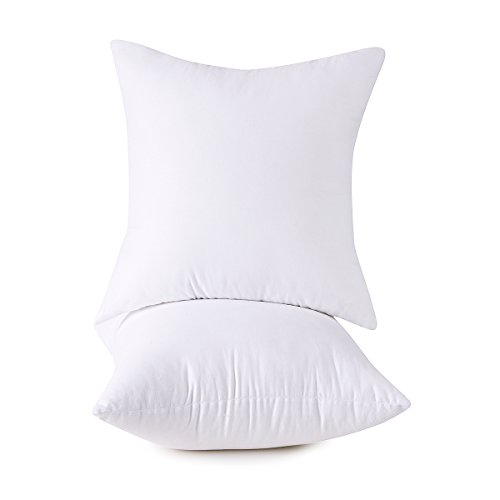 Set of 2, 100% Cotton Down Alternative Decorative Throw Pillow Insert, Square, 18x18 Inch