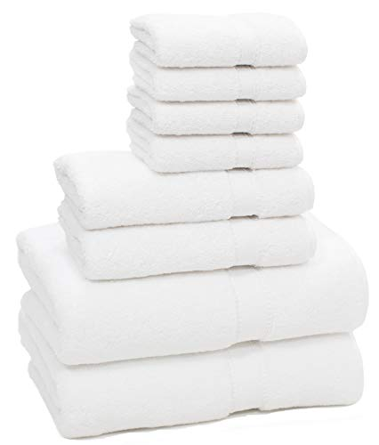 HomeLabels Premium 8 Piece Towel Set (White); 2 Bath Towels, 2 Hand Towels and 4 Washcloths - Cotton - Hotel Quality, Super Soft and Highly Absorbent