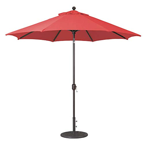 9-Foot Galtech (Model 737) Deluxe Auto-Tilt Umbrella with Antique Bronze Frame and Sunbrella Fabric Jockey Red (Includes Extended Frame Warrantee) ()